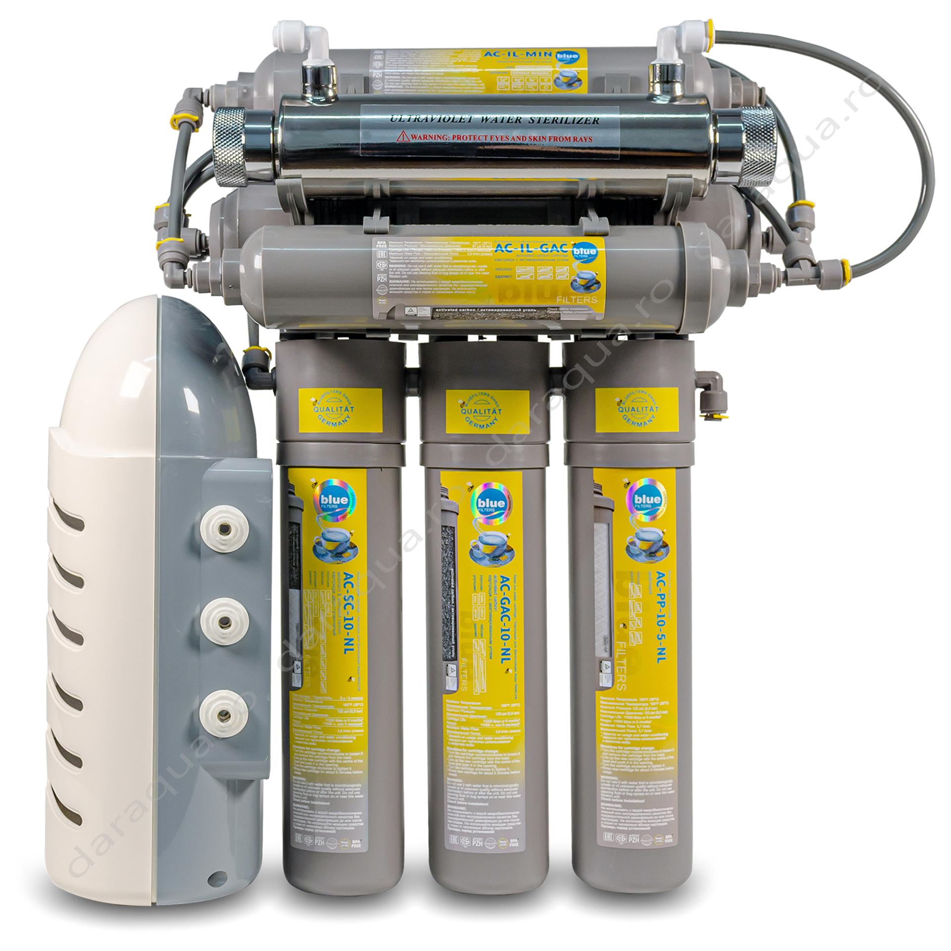 Osmoza Inversa RO6 New Line cu cartus mineralizator si Pompa de presiune si Lampa UV