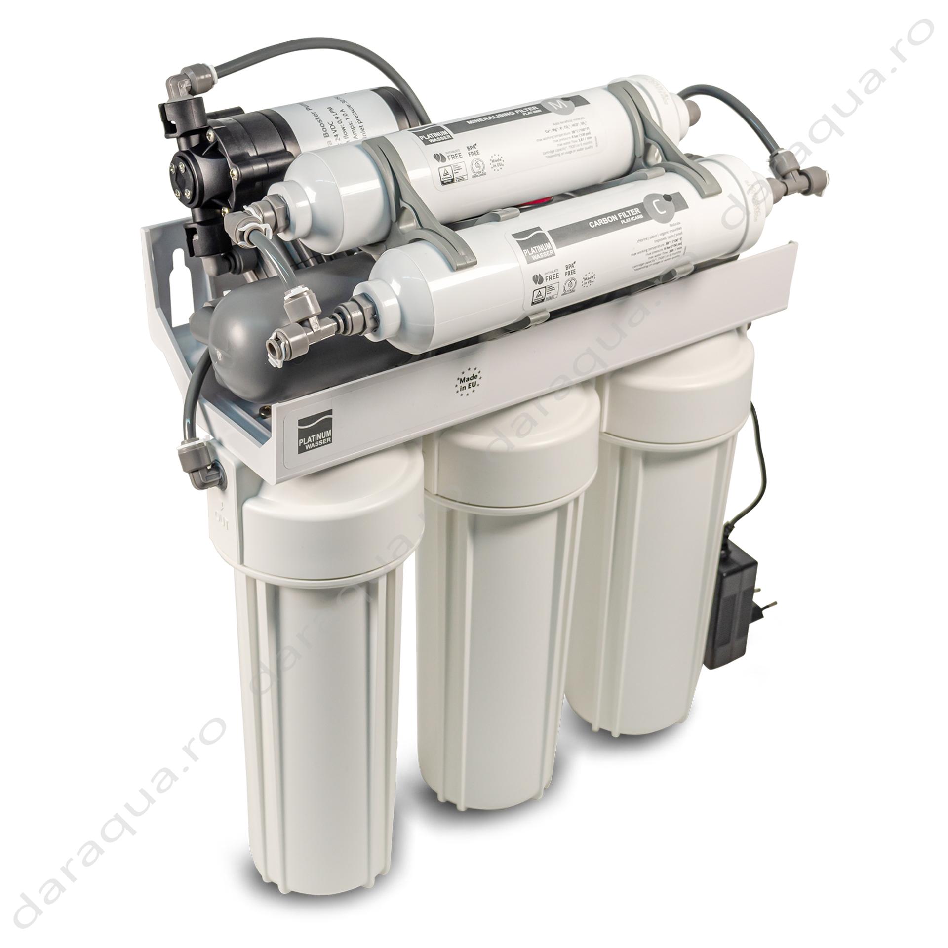 Osmoza Inversa cu robinet dublu cu cartus mineral + pompa de presiune