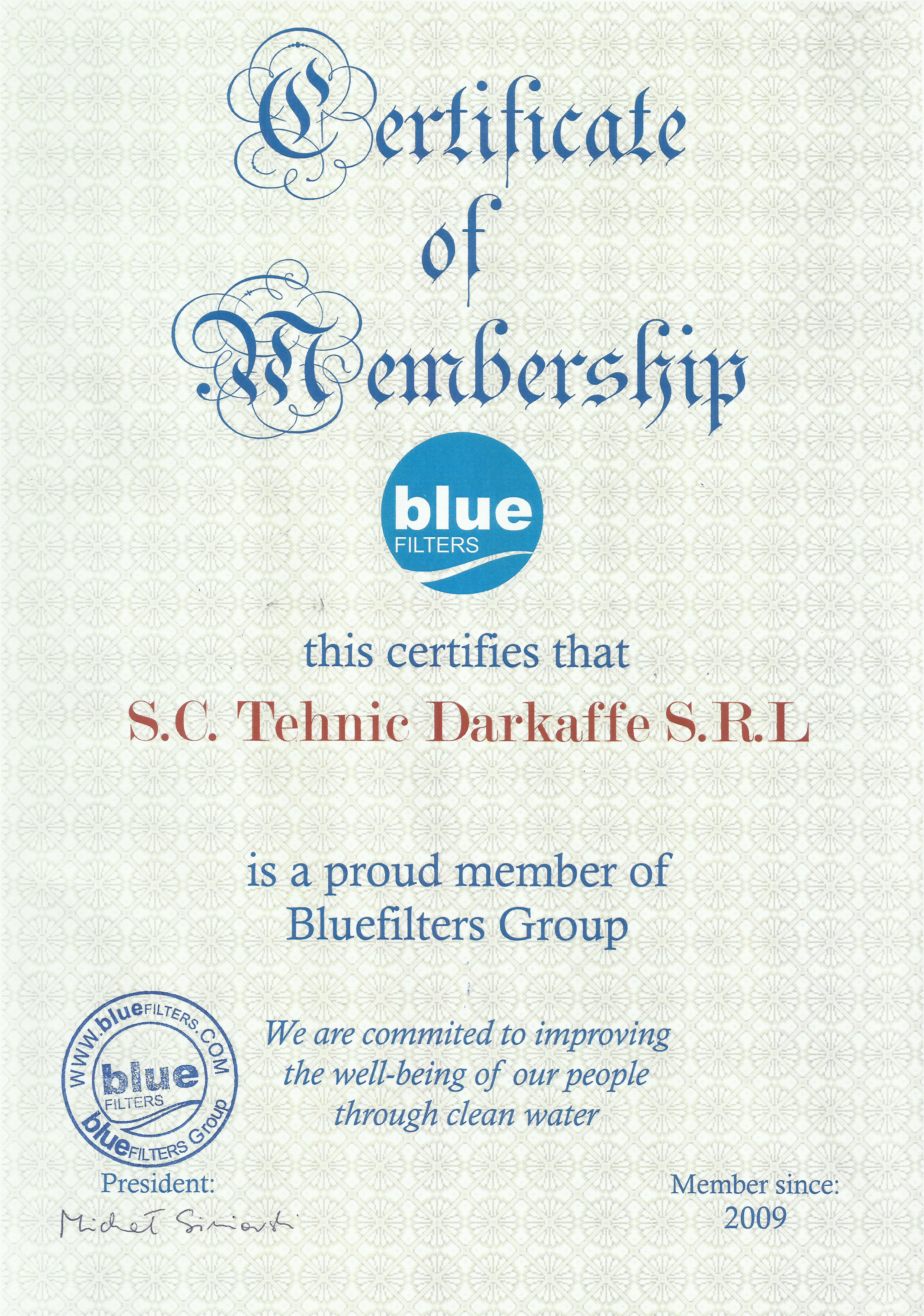 Certificat Blue Filters